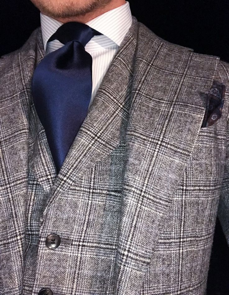 Winter Cashmere Suitsupply Plaid 3 Piece Suit, Thomas Pink Navy Satin Tie, Suitsupply Blue/White Striped Shirt