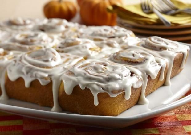 I found this recipe for Pumpkin Rolls with Cream Cheese Frosting, on Breadworld.com. You've got to check it out!