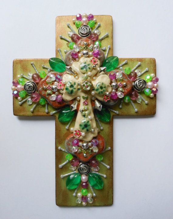 Handmade Cross ooak SALE hand painted wood found object mixed media ceramic center cross
