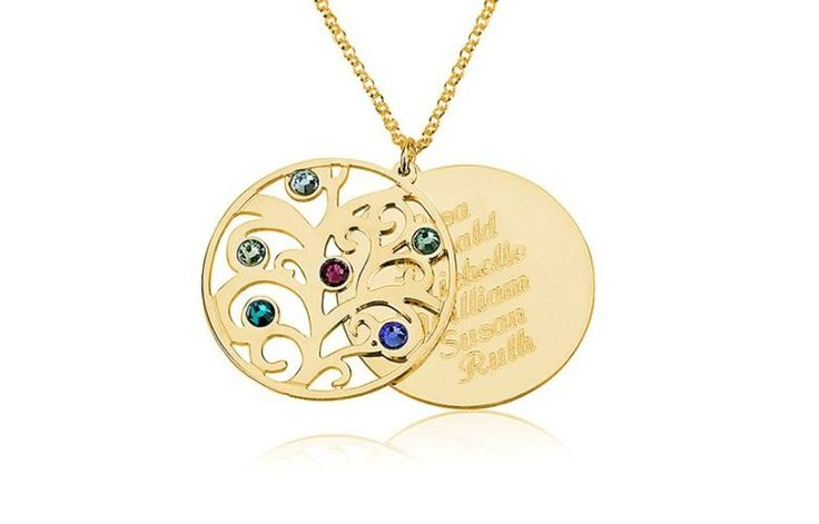 Gold over Silver Two-Piece Family Necklace... Delight your wife with this fully personalized necklace with up to 6 names ...Buy it now from Gifts For The Wife https://giftsforthewife.org/gold-over-silver-two-piece-family-necklace/