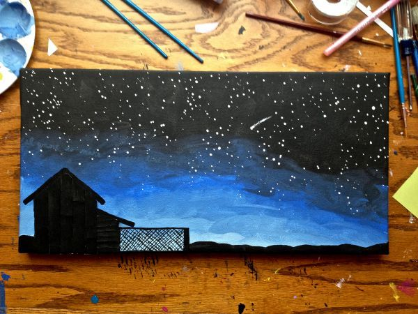 """Acrylic painting is of a breath taking starry night sky scene, including a barn silhouette & a shooting star!Discreetly written across the stars is a quote: """"I want to make you feel like you can fly..."""