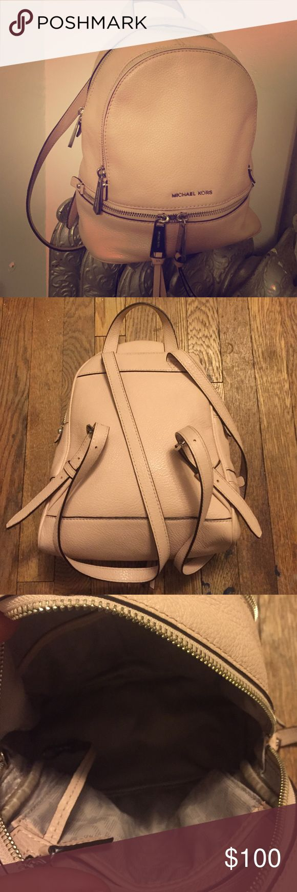 Michael Kors pink backpack This is an authentic Micheal Kors pink backpack I bought for myself at the store so I know it's real. I don't have a receipt or bag, but I'll include the exclusive cleaning/dirt resistant spray that I bought for it as well. I love this bag, but I barely use it. No trades. Michael Kors Bags Backpacks