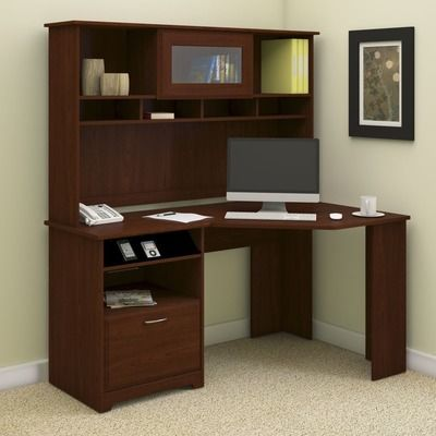 bush industries cabot corner computer desk with hutch u0026 reviews wayfair - Corner Computer Desks