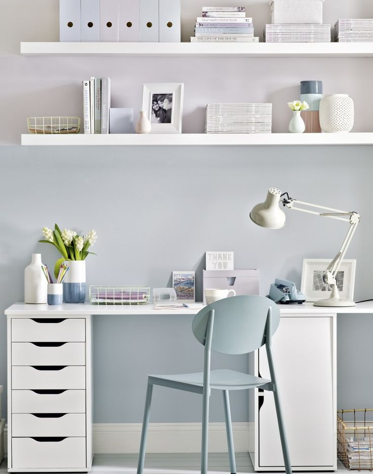 Neat modern home office in neutral/soft pastel colours