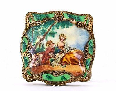 Vintage-Italian-800-Gil-Silver-Enamel-Powder-Compact-Box-Portrait-Romantic-Scene