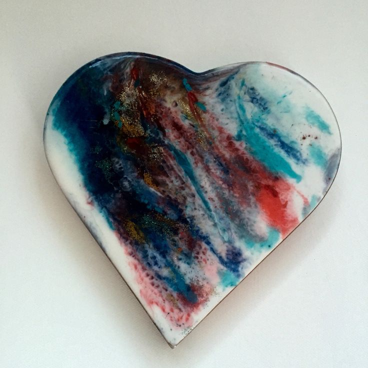 Resined wall heart art resin and acrylics