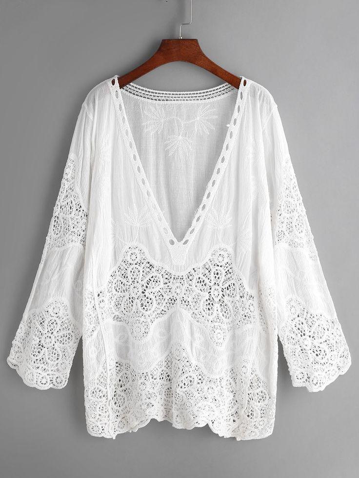 White Long Sleeve V-Neck Eyelet Crochet Lace Top