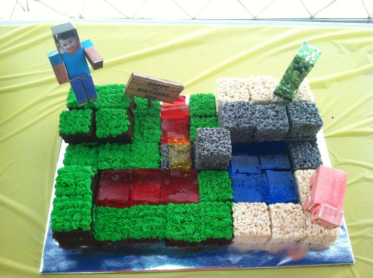 "Mindcraft cake I did for my nephew Joey's birthday. The ""cobblestones"" were rice crispy treats (like the sand), with a touch of black gel icing coloring added to the marshmallow as I mixed. The lava was jell-o, like the water but I used cherry topped with orange & then lemon to give it some depth. The ""land"" pieces were a dense chocolate cake with buttercream ""grass"". The characters were found free on-line & printed on card stock paper.I put Joey's face on the main character's face.He loved…"