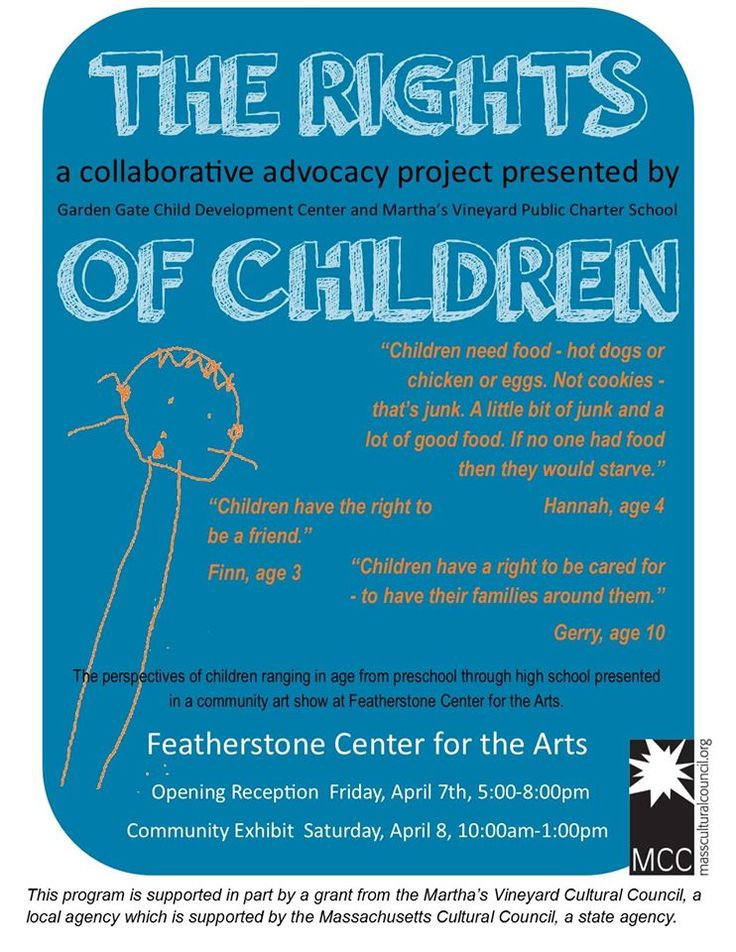 Garden Gate Child Development Center and the Martha's Vineyard Public Charter School are joining together in a year-long creative exploration of children's rights, which will culminate in a community art show at Featherstone Center for the Arts on APRIL 7 & 8, 2017. This project is supported in part by a grant from the Martha's Vineyard Cultural Council, a local agency which is supported by the Massachusetts Cultural Council, a state agency.