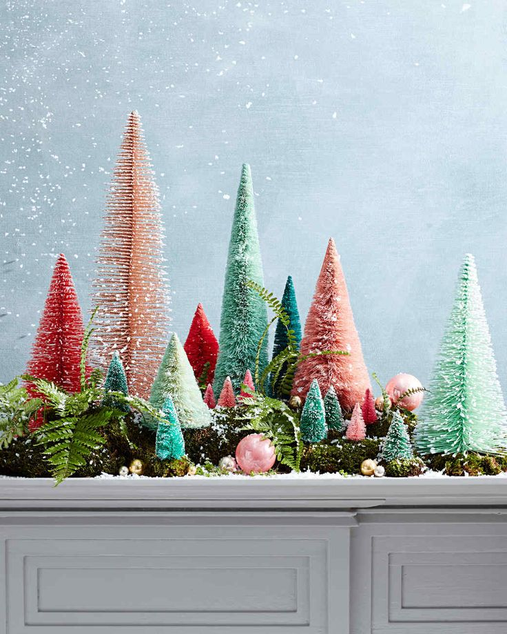 a mix of vintage trees and Martha Stewart new bottlebrush trees