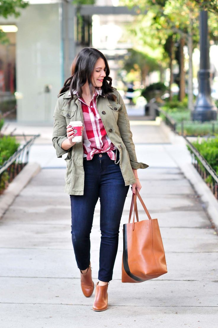 Red plaid shirt+skinny jeans+cognac ankle boots+cognac tote bag+khaki utility jacket. Fall Casual Outfit 2017
