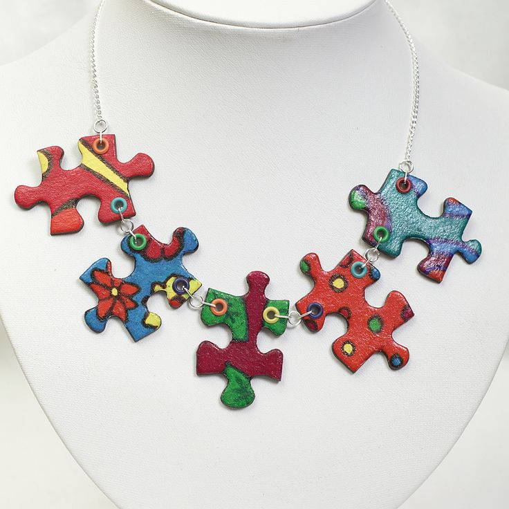 Handpainted jigsaw puzzle necklace