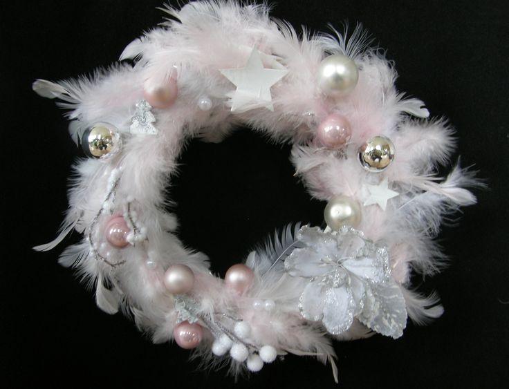 Christmas Door Wreath Old Pink Silver White  Türkranz altrosa weiss silber