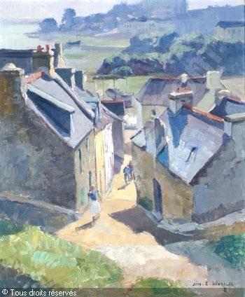 """Jim E Sevellec ~ """"Rue animée à Tréboul"""" - Douarnenez, Bretagne"""