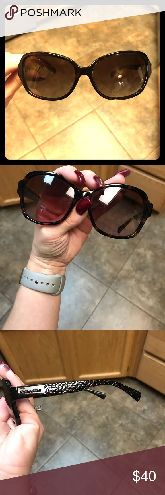 Coach tortoise sunglasses w/ case. Very cute brown/black tortoise COACH sunglasses. A couple tiny scuffs on lens but doesn't impair vision. Includes black COACH case. Coach Accessories Sunglasses