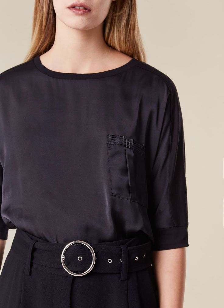 Camiseta combinada en liocel - AD MUJER | Adolfo Dominguez shop online