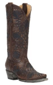 Cavender's by Old Gringo Women's Brass Goat with Navy Floral Embroidery