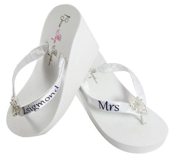 38899fe21b5e2 Bridal flip flops, Personalized Wedding lace flip flops - Rhinestone ...