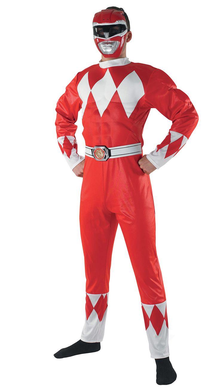 Déguisement Power Rangers™ rouge adulte : Ce déguisement de Power Rangers™ rouge pour adulte se compose d'une combinaison et d'un demi-masque.La combinaison est rouge avec des losanges blancs sur la poitrine, les...