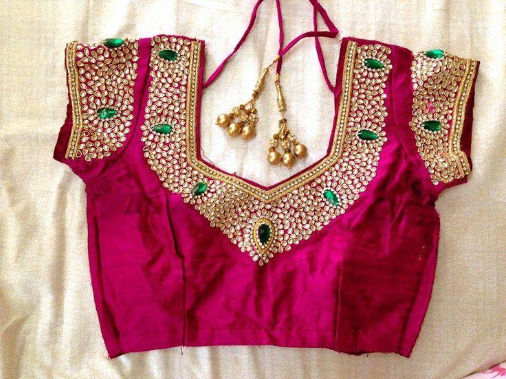 kundan work blouse 2........ cute stone work wedding bridal blouse designs.....>!! #weddingwearforbride  #weddingblouse