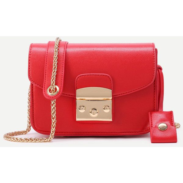 SheIn(sheinside) Lock Flap Crossbody Bag With Chain (1,225 INR) ❤ liked on Polyvore featuring bags, handbags, shoulder bags, red, crossbody chain purse, red crossbody purse, cross-body handbag, crossbody purses and red crossbody