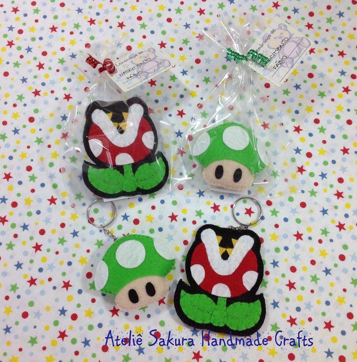 Chaveiros lembrança de nascimento Cogumelo verde e Planta Carnívora tema Super Mario Bros