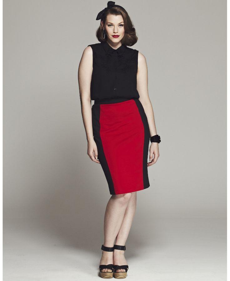 """Bespoke"" Bespoke Dita Contrast Panel Pencil Skirt at Simply Be"