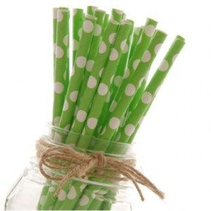 Green Dotted Paper Straws