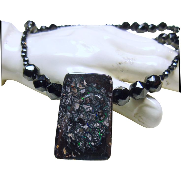 Necklace of Black Spinel with Boulder Opal Pendant