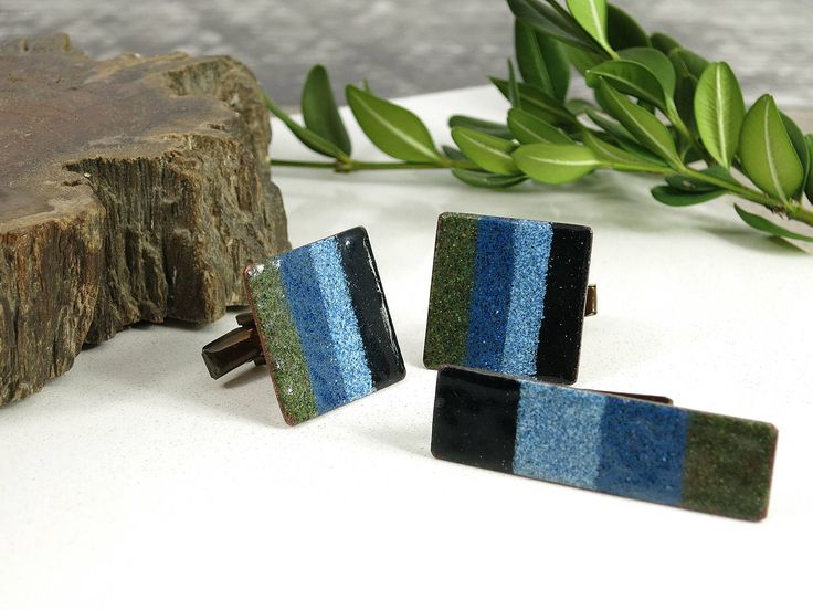 1950s 1960s Harvey Avedon Enamel Copper Cuff Links & Tie Clip - Blue Green Black Striped Enameled Copper Cufflinks and Tie Bar - Geometric by EightMileVintage on Etsy