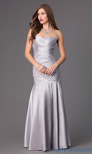 Long Strapless Bridesmaid Gown at SimplyDresses.com