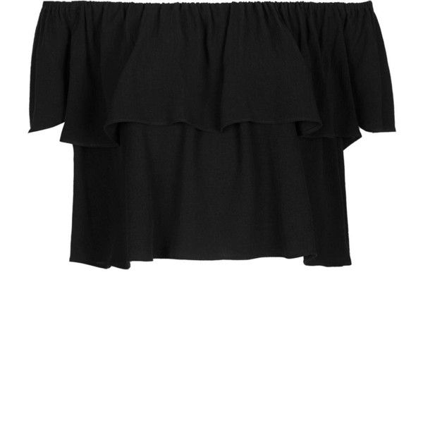 TOPSHOP Petite Crinkle Bardot Suntop ($44) ❤ liked on Polyvore featuring tops, topshop, black, petite, black bandeau top, crinkle top, black top, petite tops and topshop tops