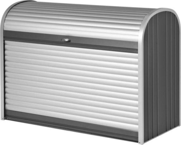 """""""Der StoreMax ist vielseitig einsetzbar: Verwenden Sie die praktische Rolladenbox als elegante Mülltonnenbox oder als Garage für Ihr Fahrrad oder den Rasenmäher. Mit seinem funktionellen Design bietet der Store Max maximalen Stauraum auf wenig Platz. Dank des praktischen Rolladen-Systems haben Sie Ihre Geräte zudem schnell griffbereit. Der Store Max besteht aus pulverbeschichtetem Stahl und ist wetterbeständig sowie regenabweisend!"""""""