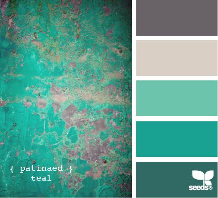 patinaed teal - living room idea! Only a little less on the teal, more of an soft aqua color.