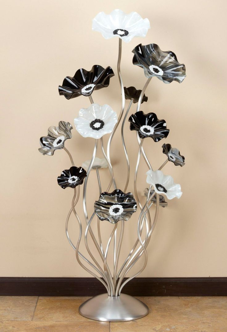 48'' Black and White Cluster by Scott Johnson and Shawn Johnson (Art Glass Sculpture) | Artful Home