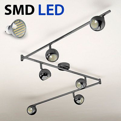 Modern Black Chrome 6 Way Kitchen Ceiling Light Spotlight - SMD LED GU10 Bulbs
