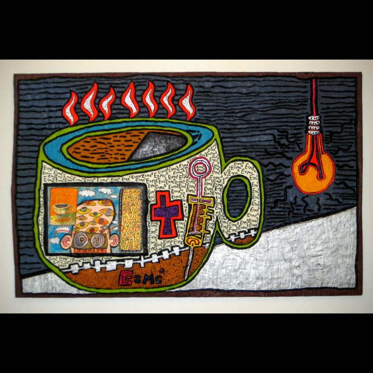 """Caffine"" - mixed media drawing on low-relief wood carving 1997  Blast from the past! I made this many years ago for the Pink Espace Kitchen Show in Montreal! Its' one of my favourites! It has a good home in the discriminating art collection of Mr. E!  #mrhydde #fineart #artbrut #primitiveart #instaart #streetart #colorful #paintingforsale #painting #outsiderart #naiveart #lowbrow #torontoart #artfollow #artshare #artlove #promote #artwork #torontoartist #artoftheday #instaartist #artistonin"