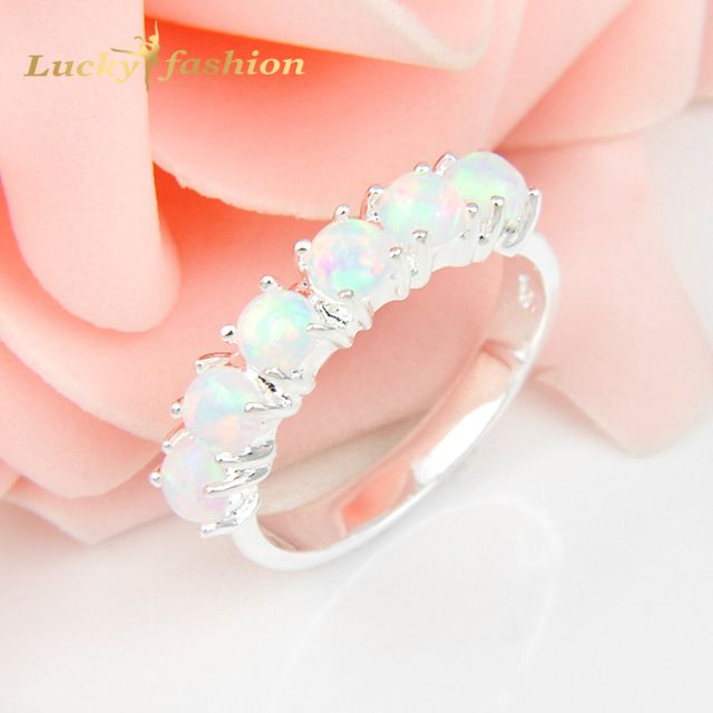 Check lastest price 2Pcs 1 Lot Full Round Crystal White Fire Opal 925 Sterling Silver  Wedding Jewelry  Rings Russia Rings Australia Rings just only $7.06 with free shipping worldwide  #weddingengagementjewelry Plese click on picture to see our special price for you