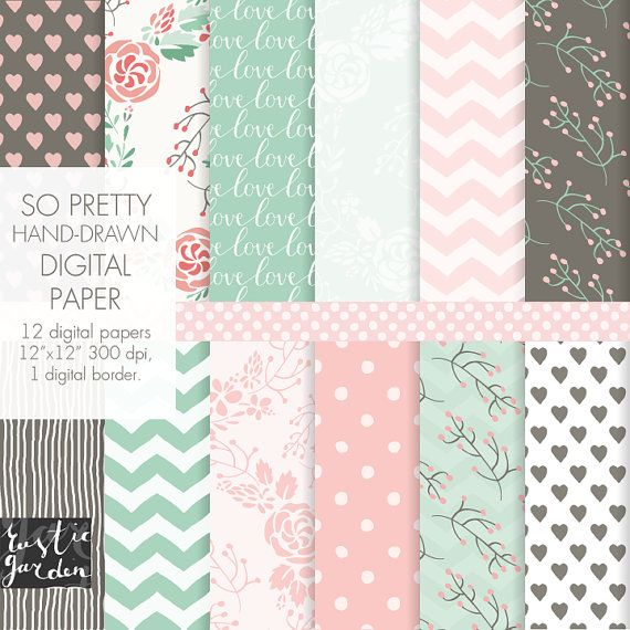 Seamless floral digital paper in mint and by RusticDigitalPaper