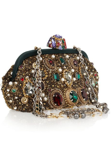 Dolce & Gabbana jewel, sequin, and pearl embellished clutch.