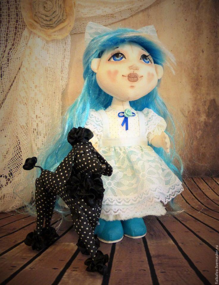 Купить Мальвина и Артемон, текстильная авторская кукла - бирюзовый, голубой, текстильная кукла, текстильная игрушка