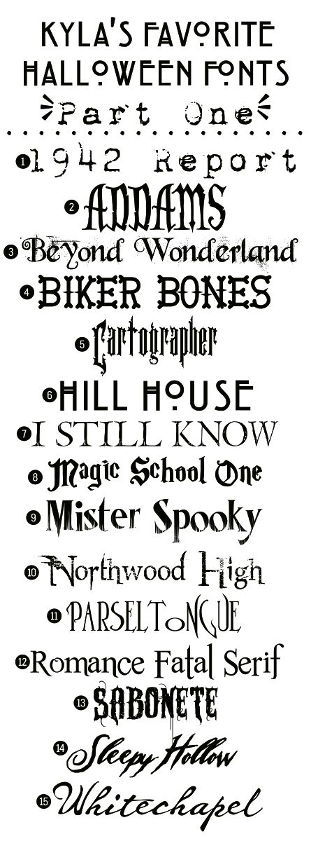 Kyla's 15 Favorite Spooky Fonts (Part 1):    Here 15 great spooky fonts you can use to make those Halloween invitations and other printables.    Downloads @:  http://funkypolkadotgiraffe.blogspot.com/2012/09/kylas-favorite-free-halloween-fonts.html