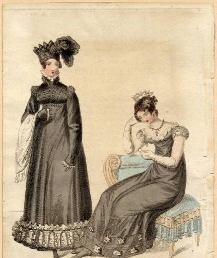 Carriage and evening dresses, Winter 1819 :: Fashion Plate Collection, 19th Century
