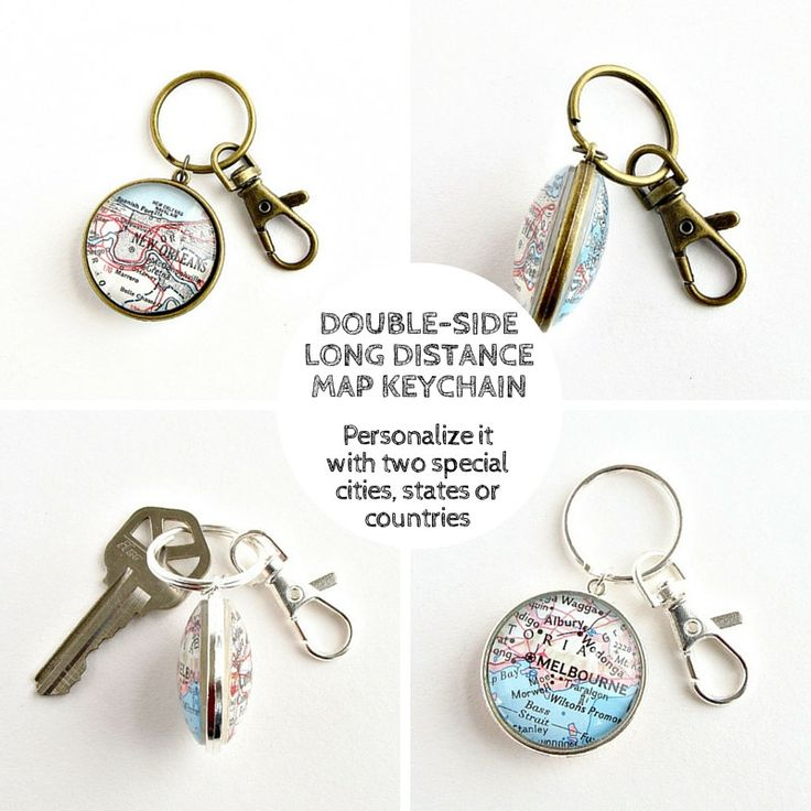 Personalize this double-sided vintage map keychain with two special places to make a perfect long distance relationship gift / by salvagedstudiomke on Etsy / Long Distance Boyfriend Gift / Long Distance Keychain / Valentines Gift for Him / Long Distance Best Friend / long distance family / long distance military / Valentines gifts for boyfriend