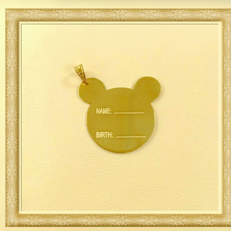 gold charm for our little frinds 14k with name and birth tag available in yellow, rose and white gold