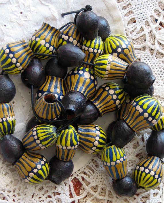 Aboriginal Painted gumnut beads from Central Australia WildAppleVintage