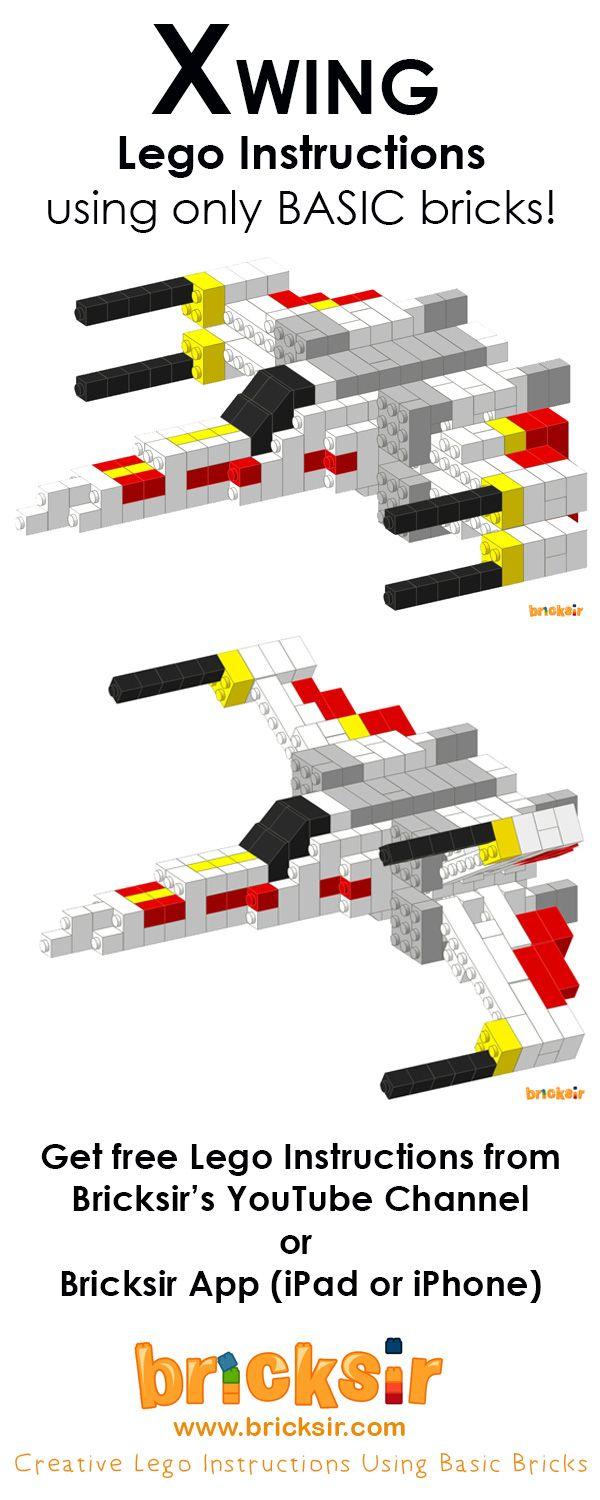 Get free Xwing Lego instructions from Bricksir YouTube Channel or Bricksir App…