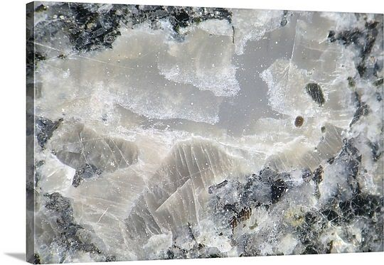 Magnified view of crystals in granite