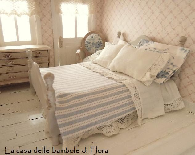 OOAK Romantic chic French Essence double bed - 1/12 dolls house dollhouse miniature