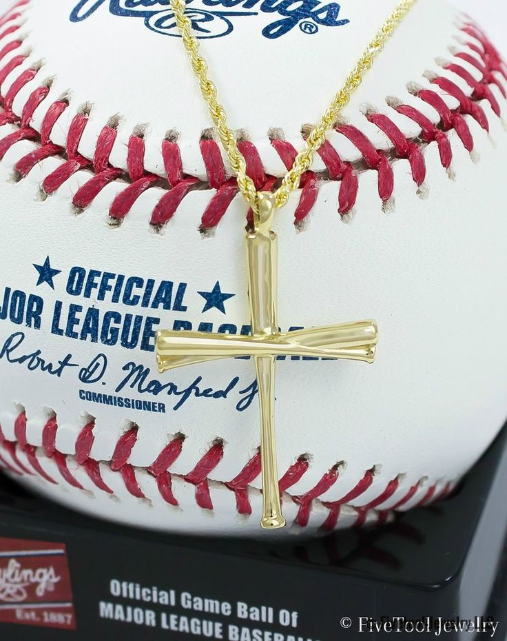 Gold Baseball Bat Cross and Necklace
